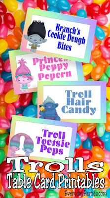 Throw a fun Trolls birthday party with these free printable Trolls table cards. You'll get six different troll characters in tent shaped tables cards that are perfect for indoor or outdoor parties.