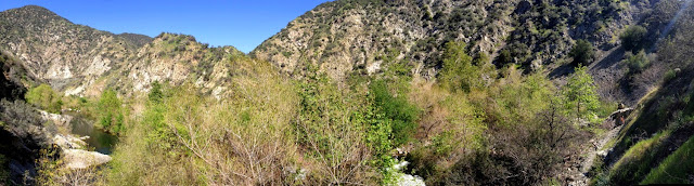 Panarama west to northeast, San Gabriel River above El Encanto Azusa River Wilderness Park, Angeles National Forest