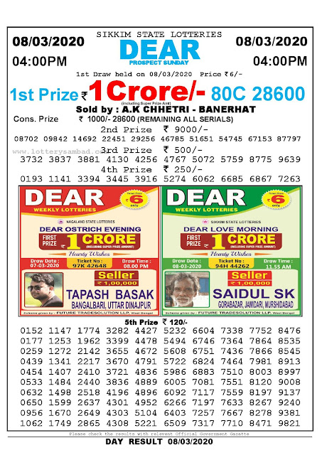 Lottery Sambad 08.03.2020 Sikkim Lottery Result 4 PM