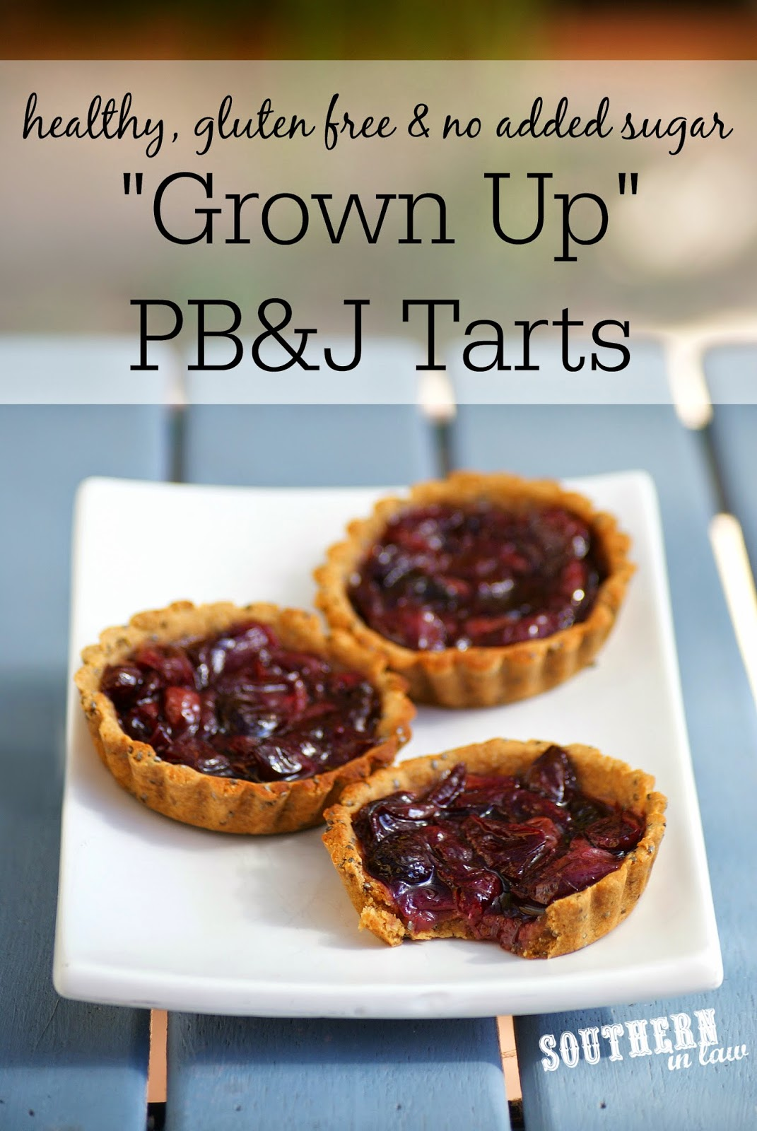Grown Up Healthy Peanut Butter and Jelly Tarts Recipe - gluten free, refined sugar free, clean eating friendly, healthy, low fat