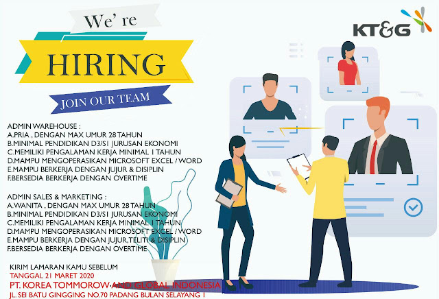 Info Loker Medan Terbaru di PT Korea Tommorow and Global Indonesia Medan