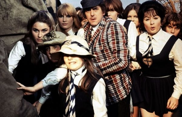 George Cole with St. Trinian's girls including Portland Mason