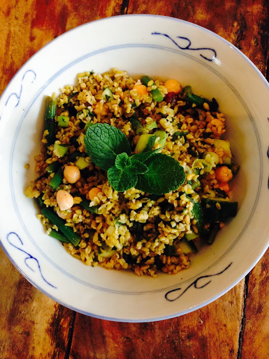 Freekeh, chickpea and green bean salad
