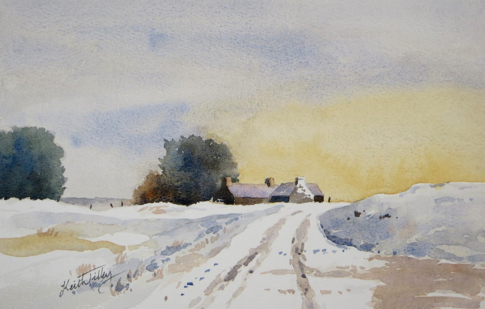 An original watercolour of a snow scene with cottages.