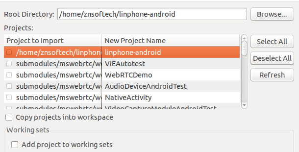 Import Linphone Android Project to Eclipse