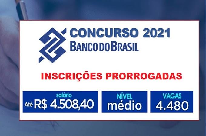 Concurso Banco do Brasil tem Inscrições Prorrogadas para 4.480 vagas e salário de R$ 4.508,40. Saiba Mais