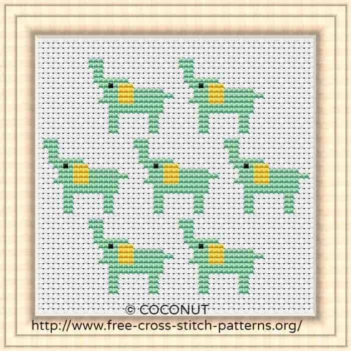 Elephant, Free and easy printable cross stitch pattern Free cross