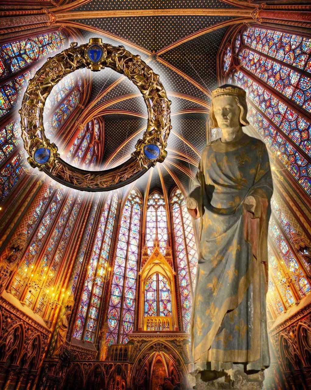 São Luis: estátua da capela inferior da Sainte Chapelle. Fundo: capela superior. Coroa de Espinhos no relicário atual.