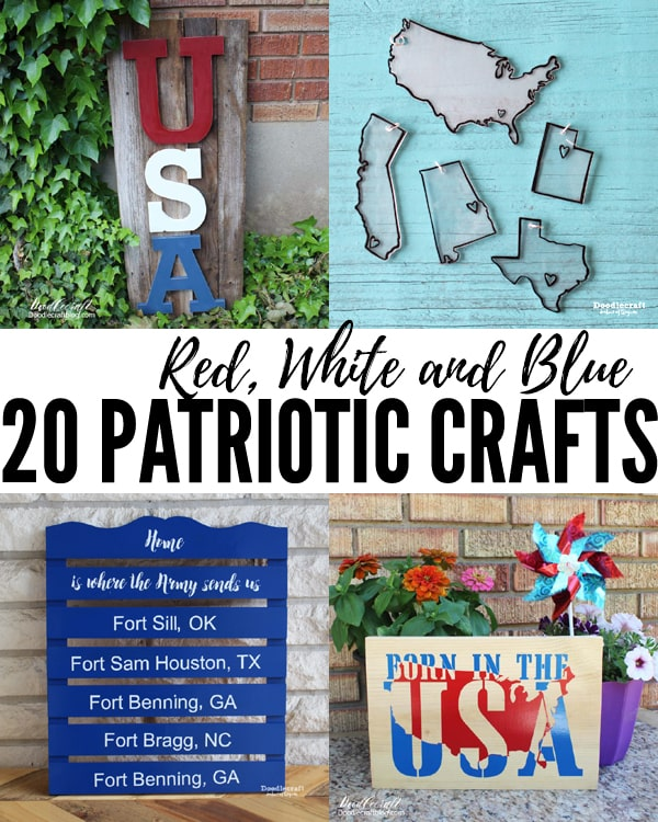 Red, White and Blue Patriotic Crafts roundup of 20 fun independence day themed projects