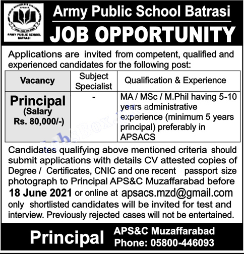 Army Public School Batrasi Muzaffarabad jobs 2021