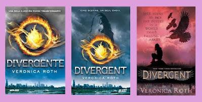 Portadas de la novela distópica juvenil Divergente, de Veronica Roth