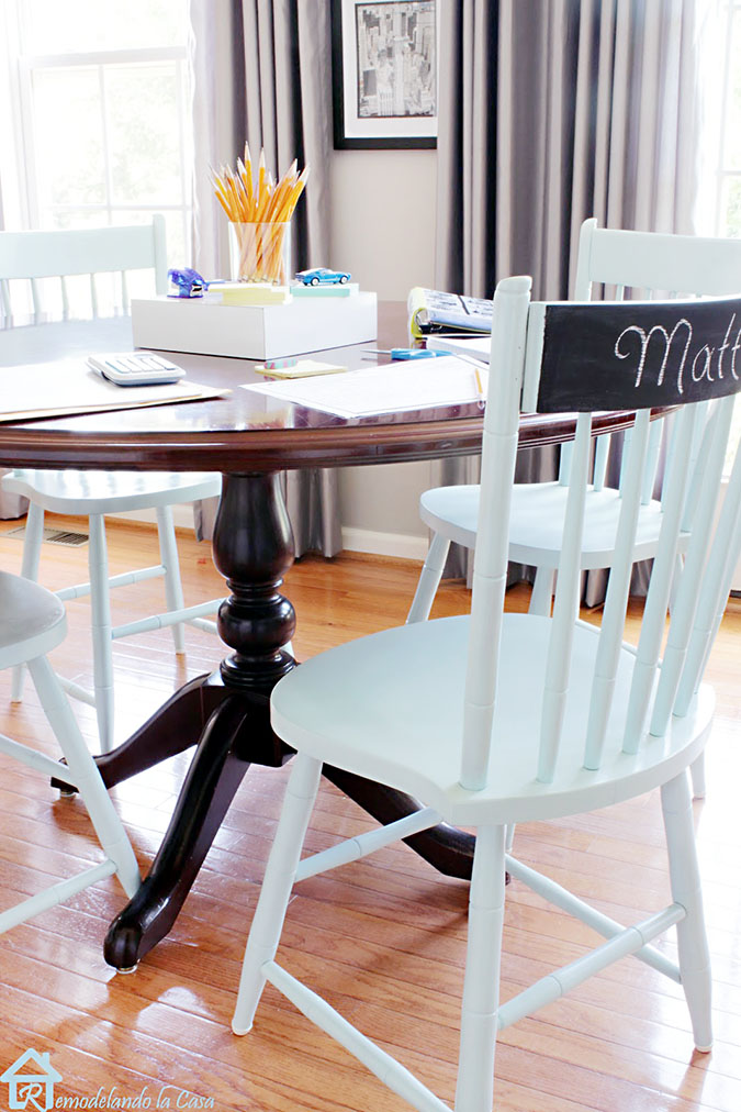 sprayed painted chairs in breakfast room - light lime color