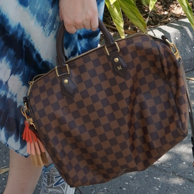 Louis Vuitton Damier Ebene 30 speedy bandouliere with tassel bag charm | away from the blue