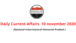 Daily Current Affairs  10 November 2020