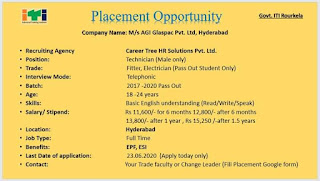 AGI Glaspac Pvt Ltd Glass Manufacturing Company ITI Job Opportunity On Technician Position |Selection By Telephonic Interview