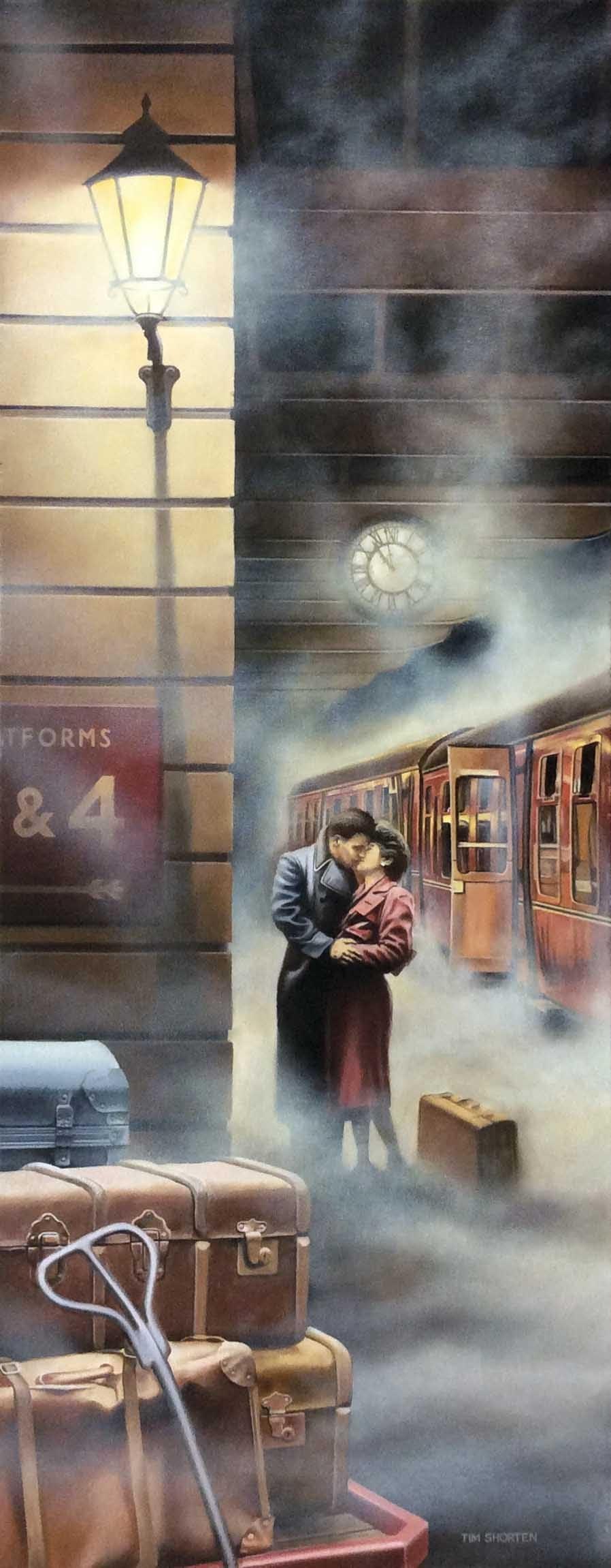 Tim Shorten Kissing couple by train