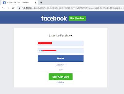 Login ke akun facebook untuk menghubungkan ke akun Cryptotab