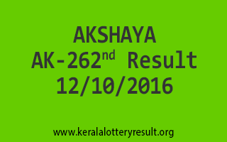 AKSHAYA AK 262 Lottery Results 12-10-2016