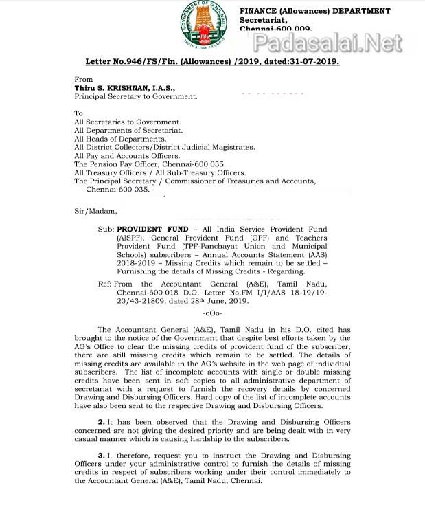 GPF & TPF Missing Credit Correction Regarding - Order Copy