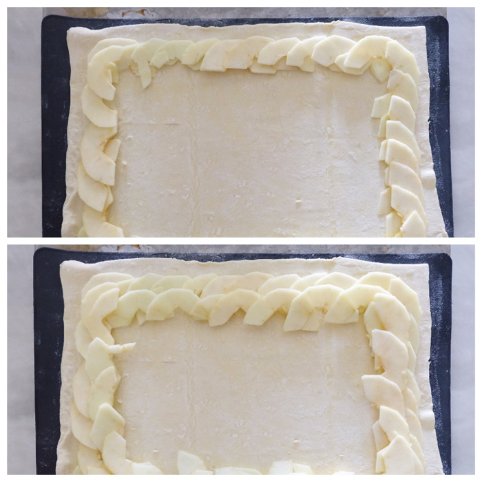 layering apple slices in rings around puff pastry