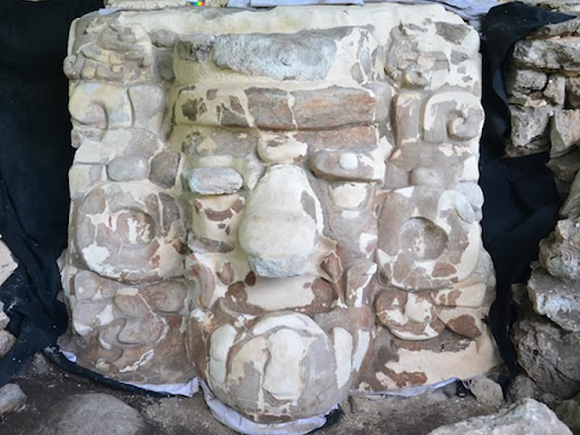 Colossal ancient Maya stucco mask uncovered in Yucatan