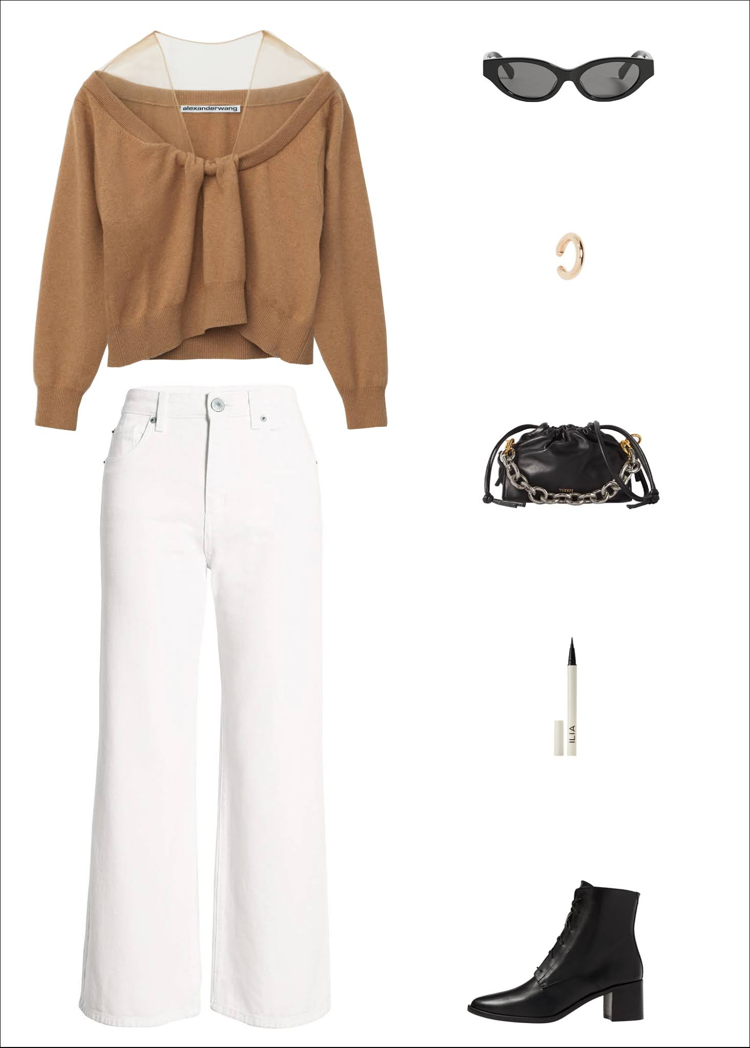 An Elevated Way to Wear White Jeans for Fall and Winter — Outfit Idea With a Tan Sheer Shoulder Sweater, Black Cat-Eye Sunglasses, Gold Ear Cuff, Mini Chain Bag, White Wide-Leg Denim, and Black Lace-Up Ankle Boots