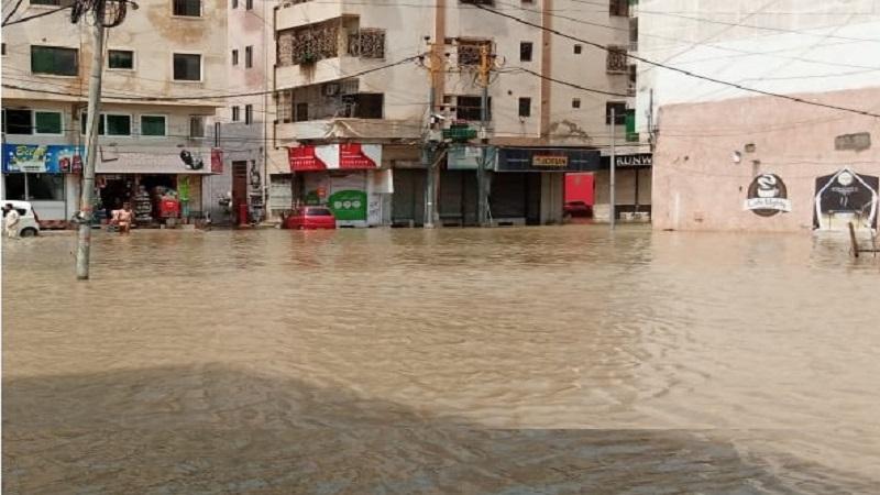 Restaurants submerged with rain water in Karachi
