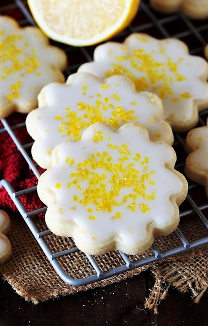 Lemon-Glazed Butter Cookies with Yellow Sprinkles Image