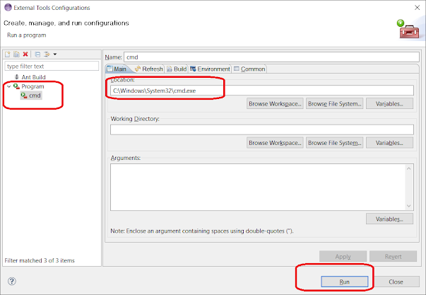 How to Find the batch file or external program in Eclipse