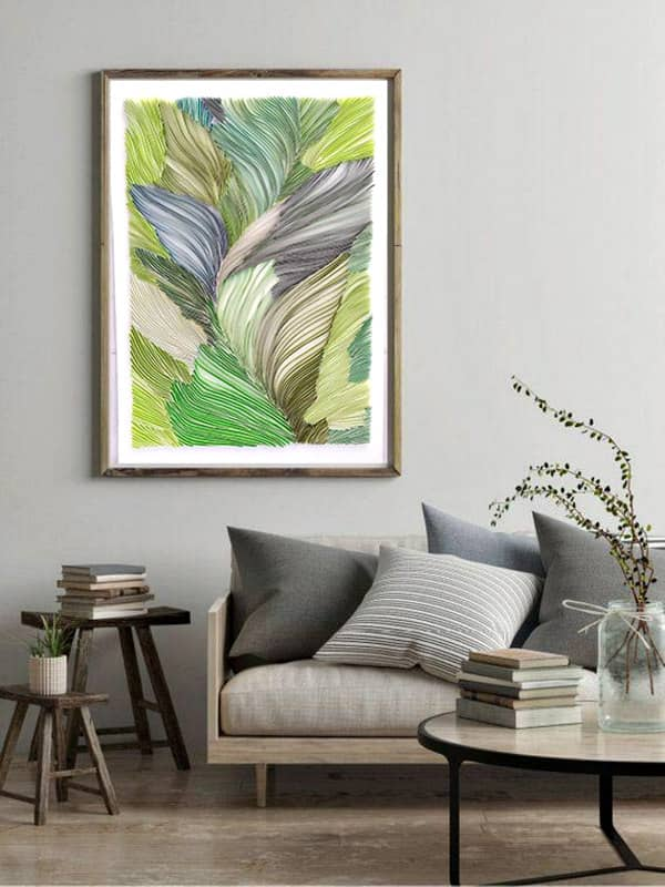 Quilled leafy green abstract framed art displayed on wall