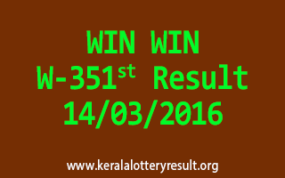 WIN WIN W 351 Lottery Result 14-3-2016