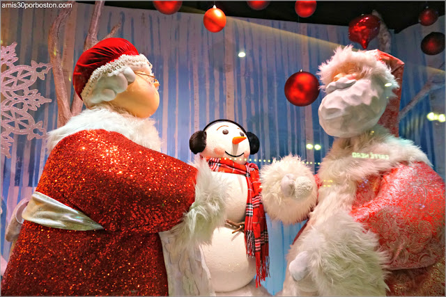 Santa en los Escaparates de Navidad del Macy's de Boston