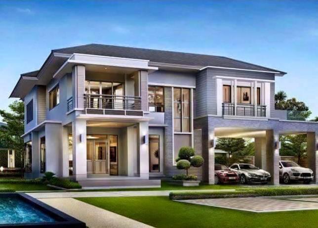 Rumah minimalis 2 Lantai Aksen batu alam