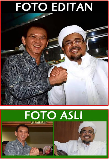 Foto Editan Habib Rizieq Syihab Jabat Tangan Ahok