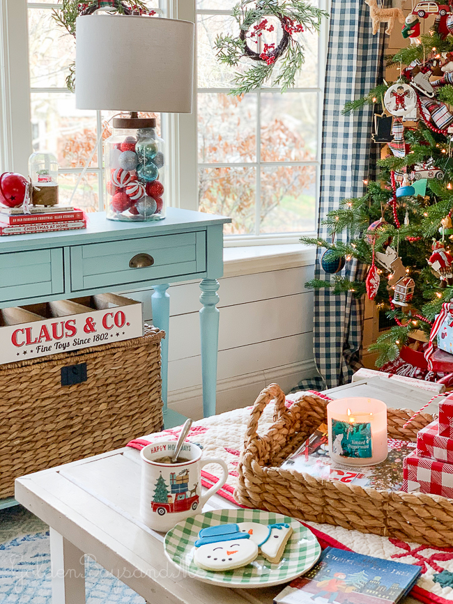 Whimsical holiday decor in a Christmas living room - www.goldenboysandme.com