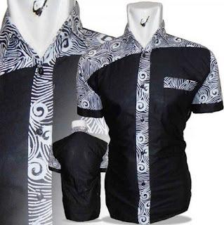 Trend kemeja batik pria kombinasi bahan polos