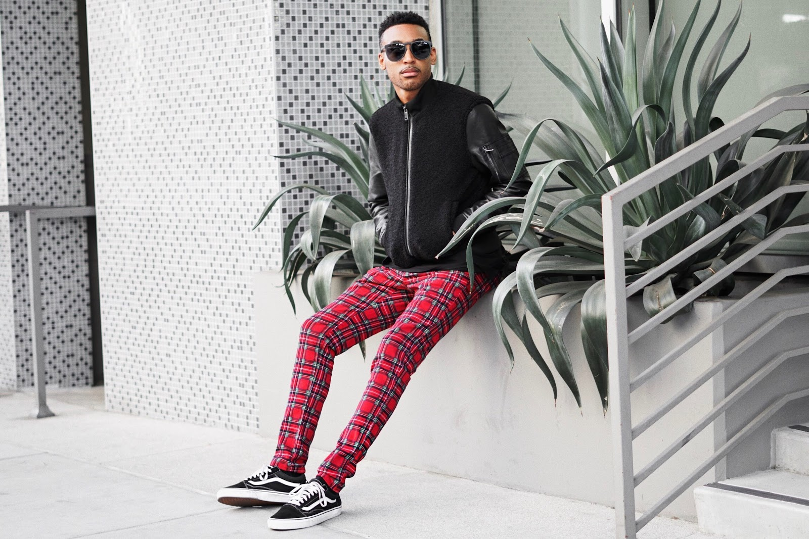 mens fashion plaid pants mens street style plaid trousers