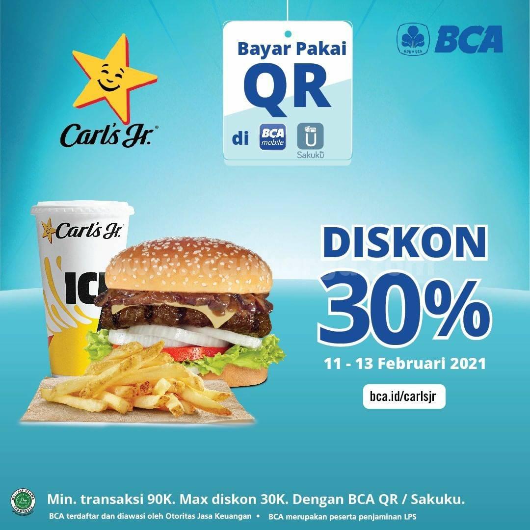 CARLS JR Promo DISKON 30%! dengan Qris BCA Mobile dan Sakuku