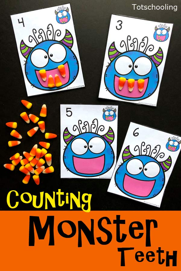 FREE printable Monster theme counting activity for preschool kids perfect for Halloween. Use candy corn or playdough to make the monster's teeth according to the number on the card.
