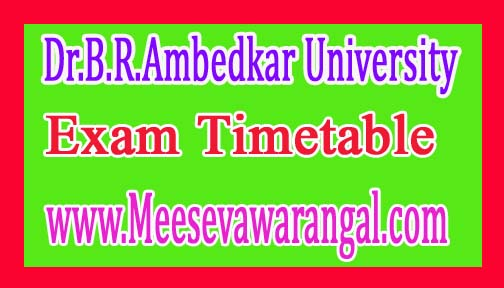 Dr.B.R.Ambedkar University MBA and MCA 1Sem Jan 2017 Exam Timetable