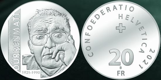 Switzerland 20 francs 2021 - Friedrich Dürrenmatt