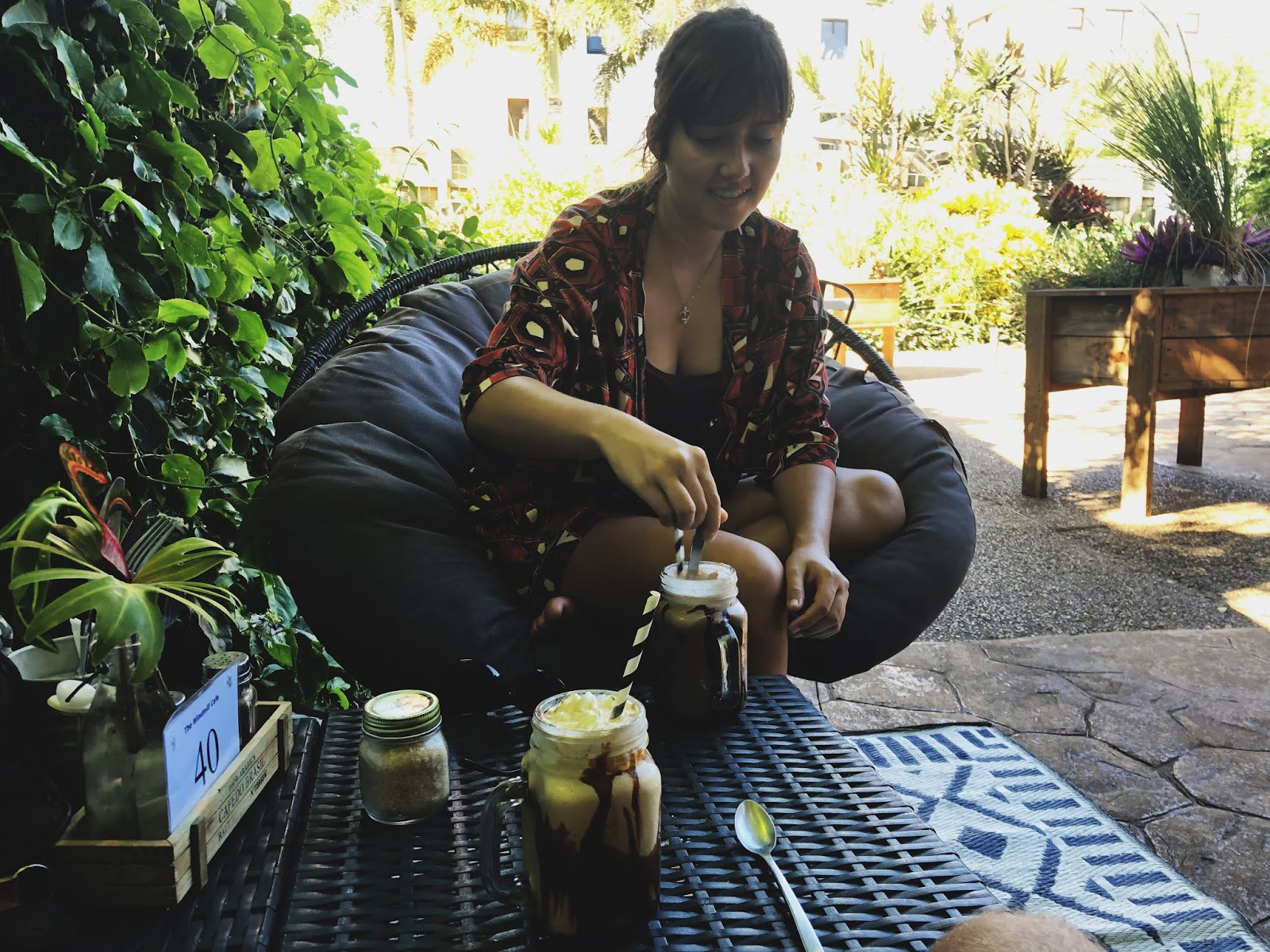 Girl in Windmill cafe in Bargara