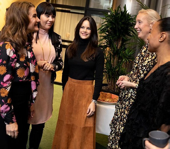 Princess Sofia wore & Other Stories Pleated Suede Midi Skirt. Melinda Gates and Minister of Culture and Democracy Alice Bah Kuhnke