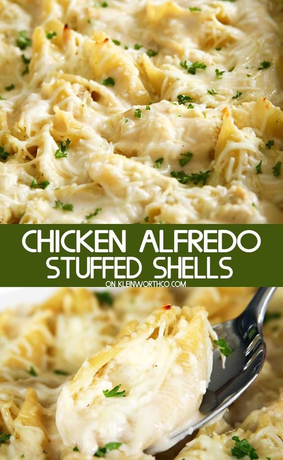 Chicken Alfredo Stuffed Shells #Chicken #Alfredo #Stuffed #Shells #dinner #Easyrecipe #Simplyrecipe