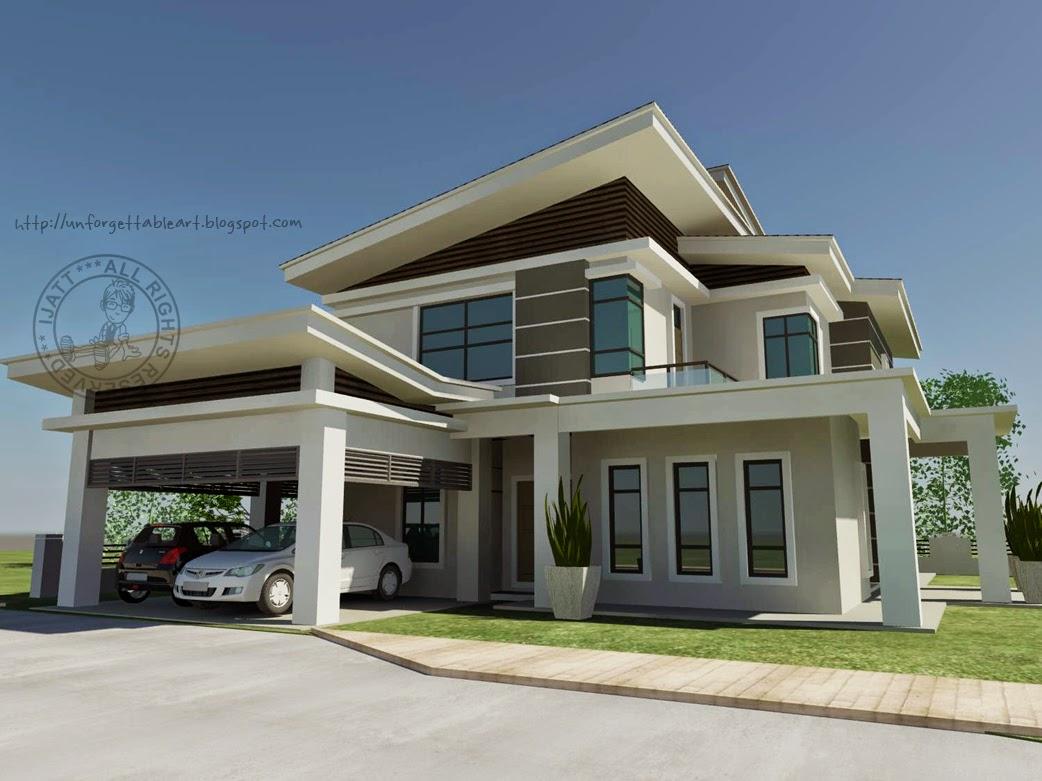 Gambar Lukisan Rumah Banglo