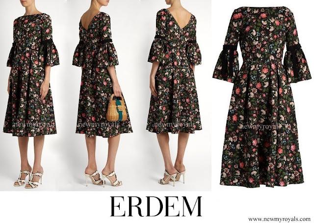 Crown Princess Mette Marit wore ERDEM Aleena floral print matelasse dress