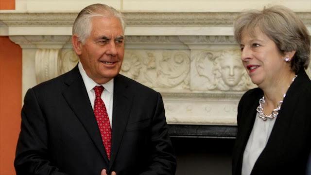 Theresa May defiende ante Tillerson el acuerdo nuclear con Irán