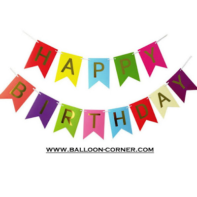 Bunting Flag Segilima HAPPY BIRTHDAY Huruf Hot Print Emas Warna Kombinasi