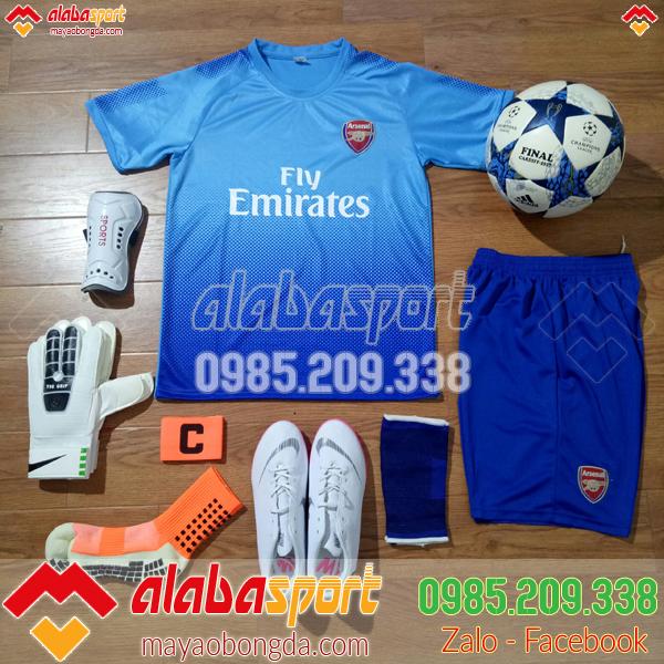 quần áo bóng đá arsenal xanh 2018