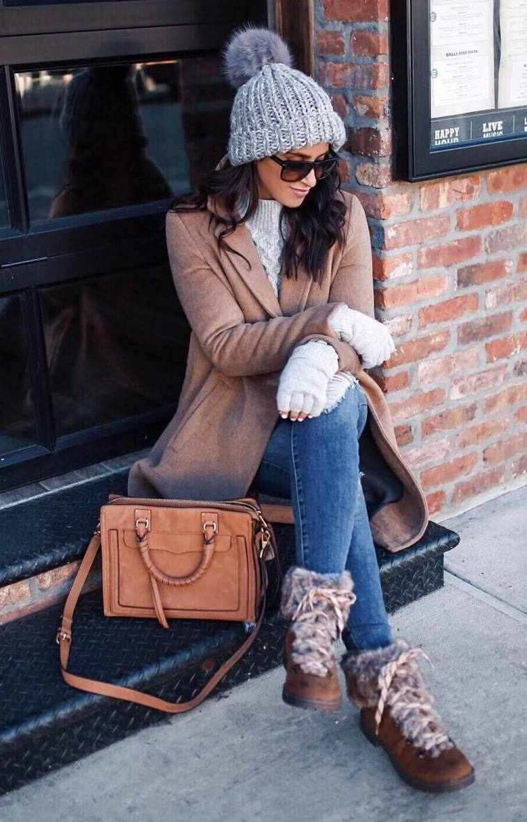 comfy winter outfit_boots + bag + skinnies + coat + hat + sweater